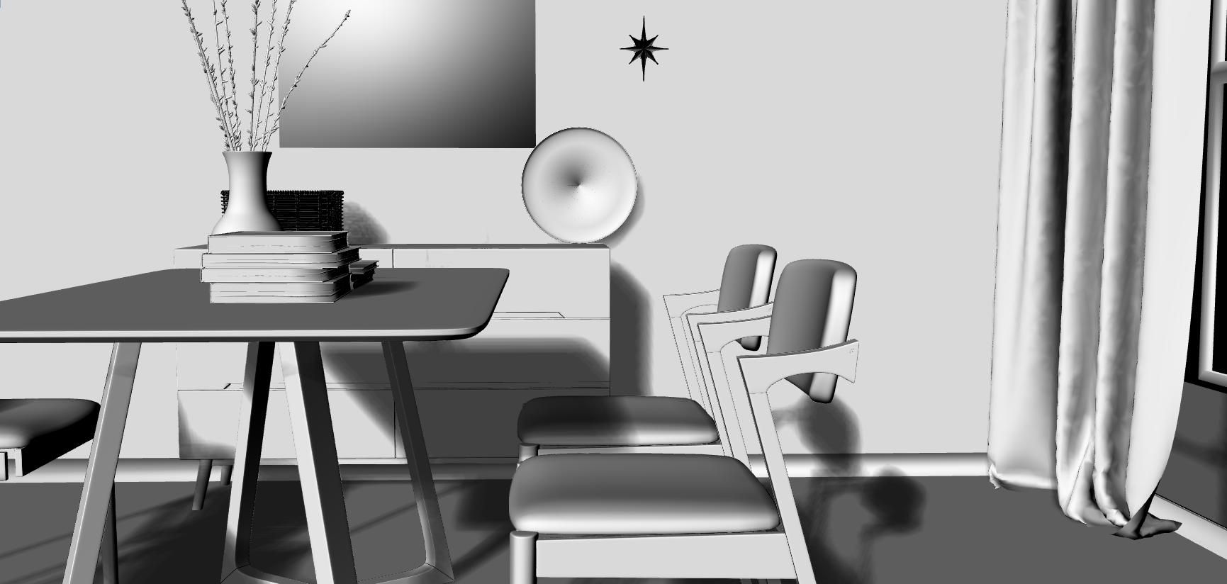 高精度餐桌椅模型(内含所有物件贴图)